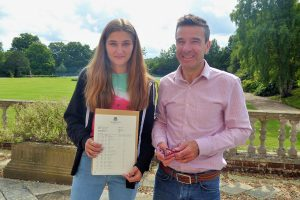 Sherfield School's Rachel Walker with head of English John Sentance-Davis
