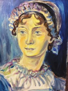 The completed painting of Jane Austen